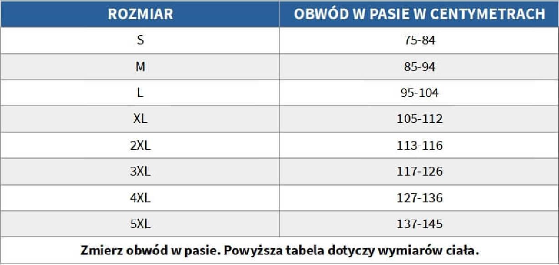 Tabela rozmiarów - majtki chłonne do 650 ml do prania męskie białe